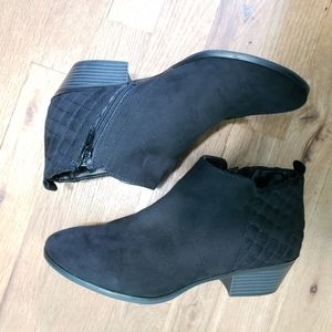 Style & Co faux suede black booties